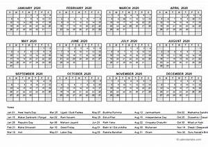 Yearly Planner Template 2020 Yearly Calendar With India Holidays Free Printable