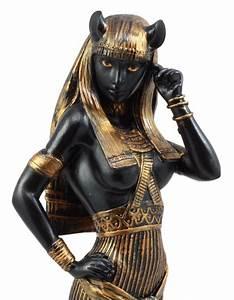 Collectible, Figurine, Egyptian, Feline, Goddess, Bastet, Statue, 10, U0026quot, H, Black, And, Gold