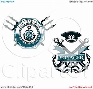 Clipart of Nautical Maritime Trident and Anchor Designs ...