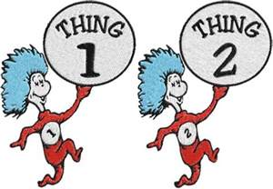 cat in the hat thing 1 and thing 2 dr seuss machine embroidery phoenixembroidery artfire shop