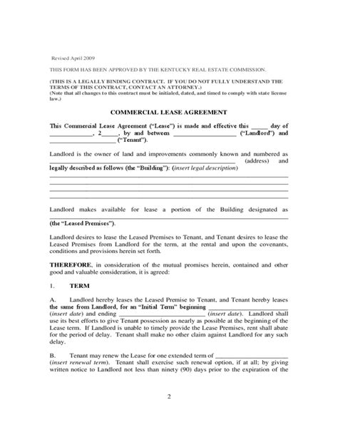 commercial lease agreement kentucky free