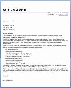 personal assistant cover letter sample resume downloads With covering letter for personal assistant