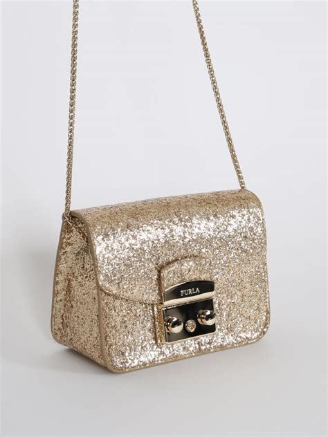furla metropolis crossbody glitter gold luxury bags