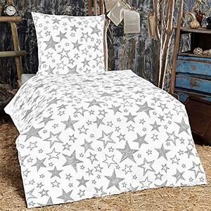 Flanell Bettwäsche 135x200 : sch ne bettw sche aus flanell sterne grau 135x200 von ~ Lateststills.com Haus und Dekorationen