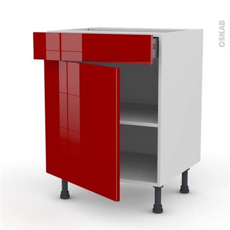 meuble tiroir cuisine meuble bas cuisine 1 porte 1 tiroir l60xh70xp58 stecia