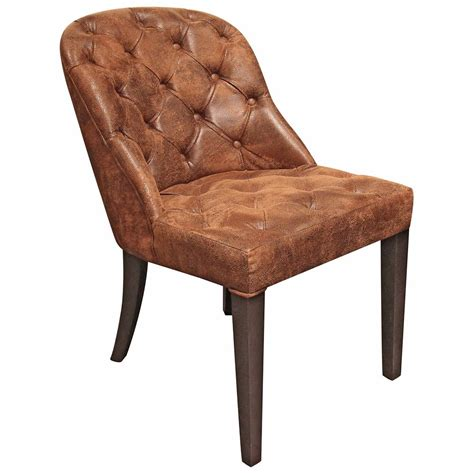 angier rustic lodge tufted brown leather dining side