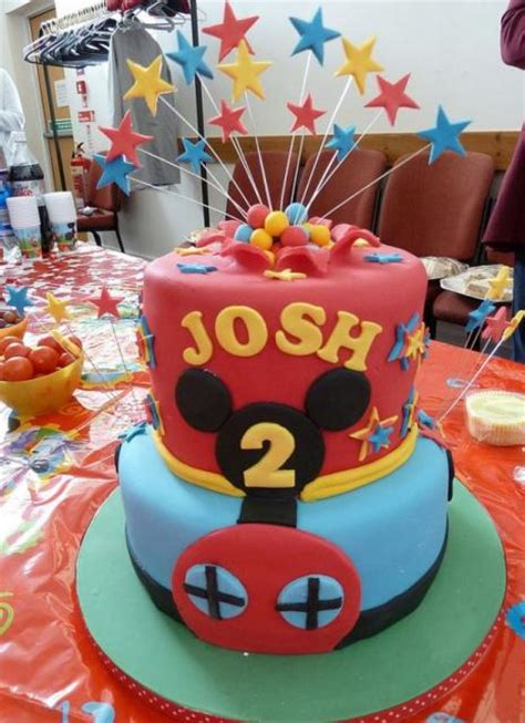 Two tier Mickey theme birthday cake for 2 year old with ...
