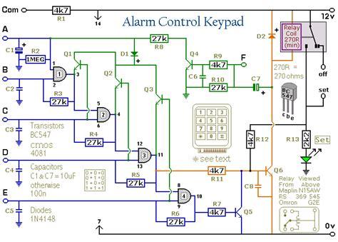 how to build a 5 digit alarm control keypad circuit diagram