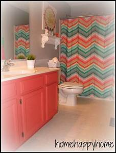 coral and turquoise bathroom i love the chevron shower With aqua and coral bathroom