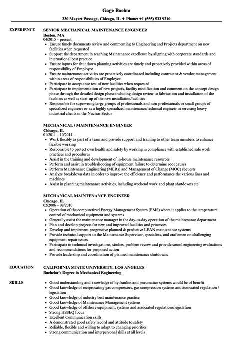 resume for mechanical maintenance engineer annecarolynbird