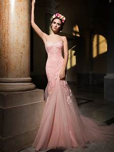 pink rose mermaid wedding dress from royal bride With rose pink wedding dress
