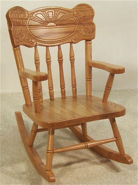 amish furniture rocking chair oak sunburst back