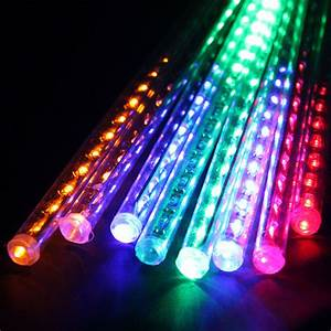 8x30 cm tube 144 led rgb multi color meteor shower rain With outdoor string lights in rain