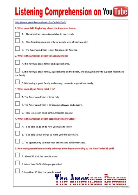 Listening Comprehension On Youtube (the American Dream) Worksheet  Free Esl Printable
