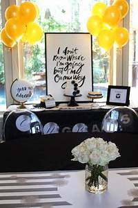 Kara's Party Ideas Black, White + Gold Graduation Party