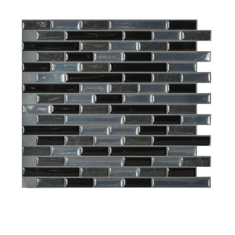 kitchen backsplash tiles peel and stick smart tiles muretto nero 10 20 in x 9 10 in peel and