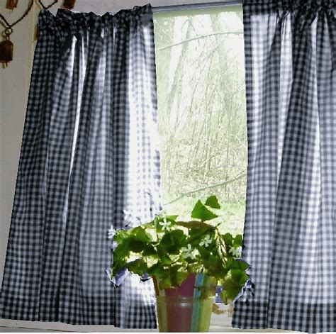 blue gingham curtains navy blue gingham kitchen caf 233 curtain unlined or with
