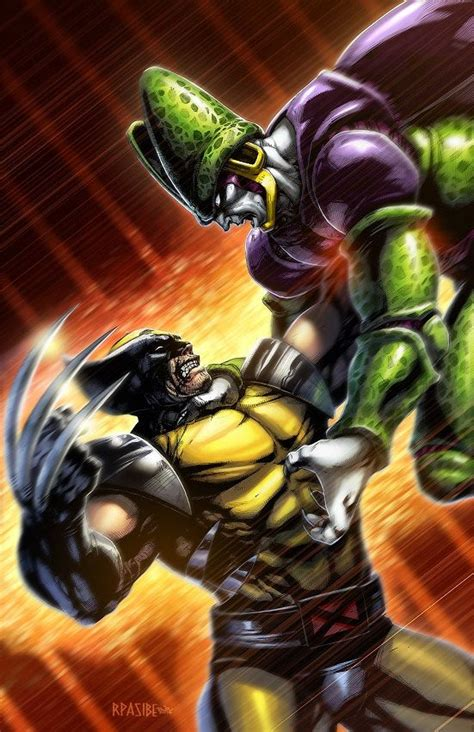 dragonball  cell  wolverine  digital print
