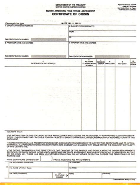 nafta certificate  origin international trade