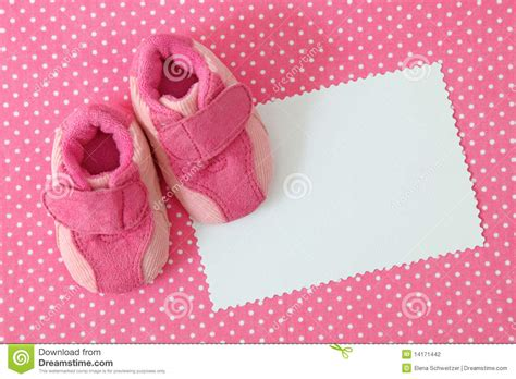 pink baby shoes  blank note stock photo image