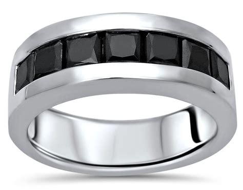 mens 2 0ct black princess cut diamond wedding band ring