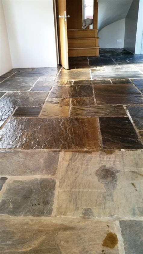 Flagstone Tiled Kitchen Floor Cleaned And Sealed In Maldon