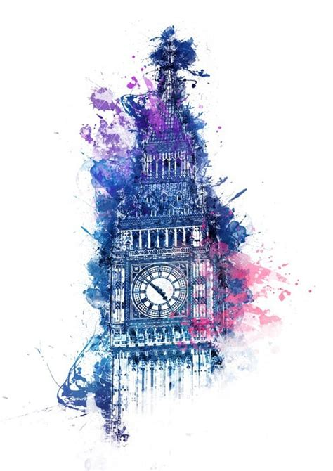 colorful watercolor painting  big ben wall mural