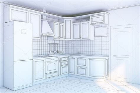 kitchen blueprint stock photo   arch