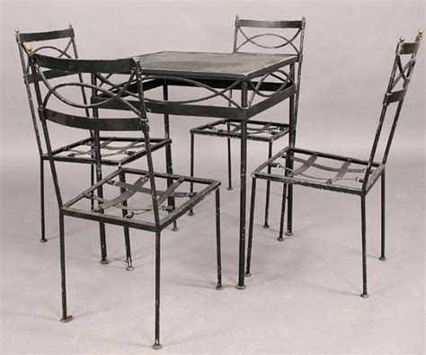 wrought iron patio set table 4 chairs c1920 for