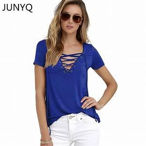 2017 Summer Fashion Women T shirts Short Sleeve Sexy Deep ...