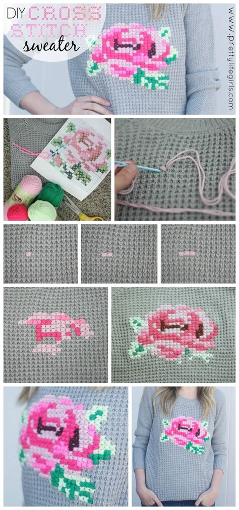 diy cross stitch sweater  pretty life girls