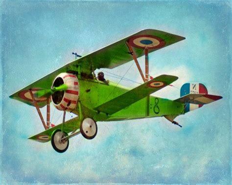vintage airplane art print green blue nursery biplane