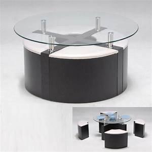 Table Basse Pouf Intégré : table basse ronde pouf int gr mobilier design d coration d 39 int rieur ~ Dallasstarsshop.com Idées de Décoration