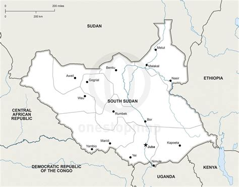 vector map of south sudan political one stop map