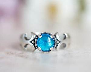Blue Apatite Ring Hand stamped Sterling Silver wide stack