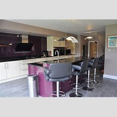 Clients Glacier Acrylic Gloss Cream & Aubergine Kitchen
