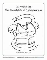 Breastplate Righteousness Coloring God Armor Pages Printable Pdf Bible Activity Lesson Simple Belt Truth Children Sunday Lessons Description sketch template