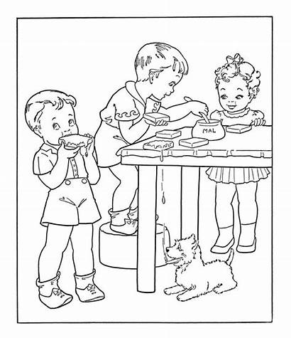 Coloring Pages Eating Bread Cartoon Butter Peanut