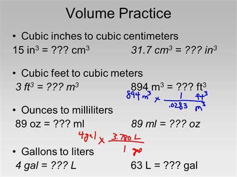 liters to centimeters cubed metric conversion tables ppt
