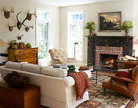 country livingroom decorating with deer heads and antlers and whimsical
