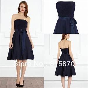 2013 A line strapless navy blue short chiffon fashion ...
