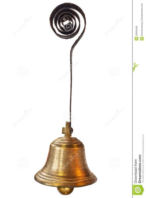 Small Old Hanging Bell Isolated On White Royalty Free