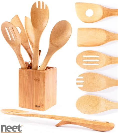 kitchen utensils cooking wooden bamboo utensil neet organic elevated bmb su6 serving piece guide cookware material