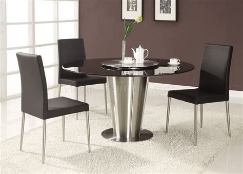 Black Marble Round Top Modern Dining Table