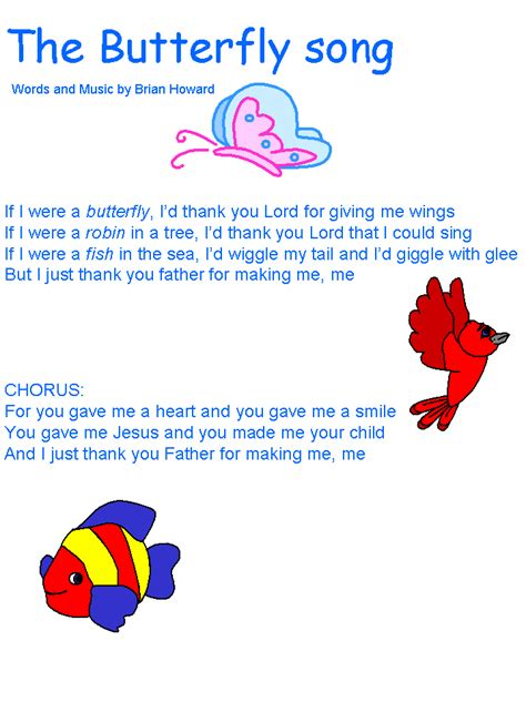 Song Butterfly Butterfly Song Bible Crafts Songs Pinterest Songs