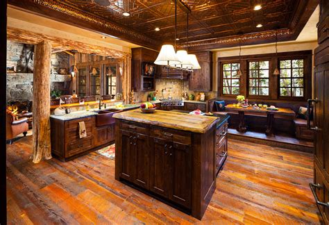 log cabin kitchen images luxury big sky log cabins published in big sky journal