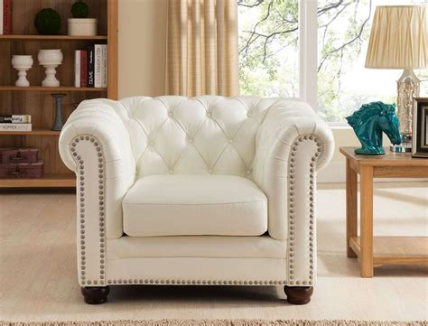 Monaco Pearl White Leather Arm Chair From Amax Leather