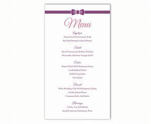 wedding menu template word