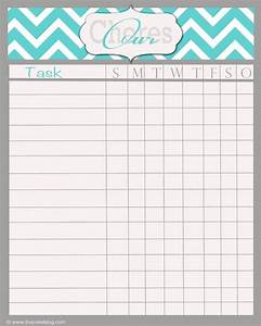 free printable blank chore chart template With chore chart for adults templates