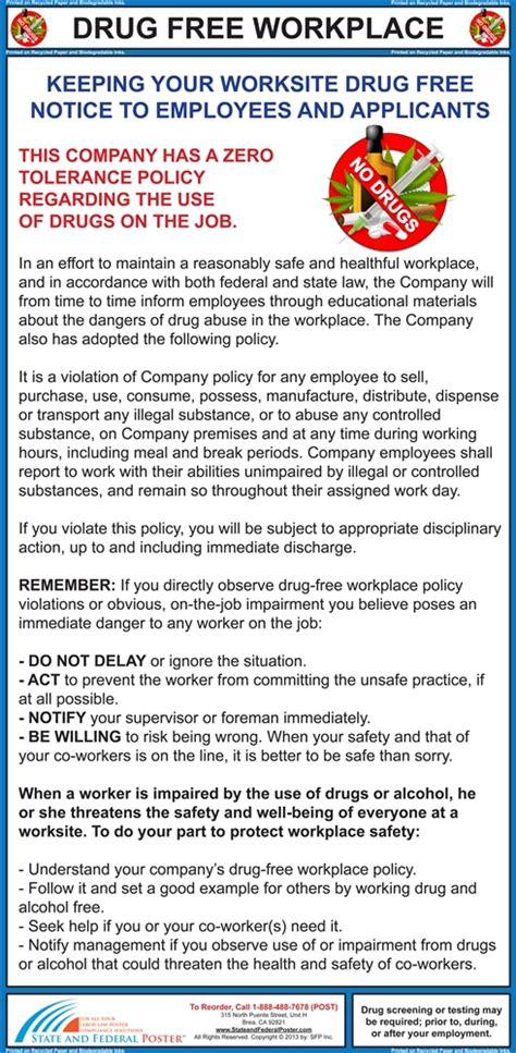 drug  workplace poster laminated